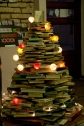 Christmas tree out of old books in Mint Vinetu