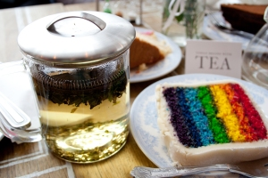 Peppermint tea and a rainbow cake in Proper Tea in Manchester