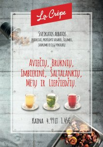 Menu promoting healthy herbal teas for just 1,45 EUR