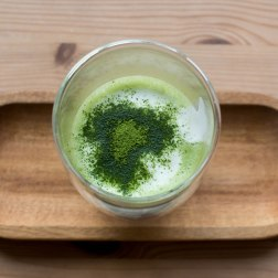 Preparing Matcha latte